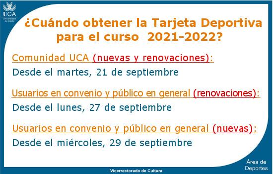 IMG Plazos para la tramitación de la Tarjeta Deportiva 2021/2022